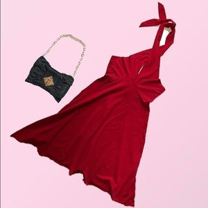 American Apparel Large Red Halter Dress